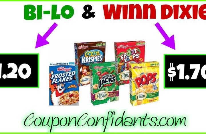 Kellogg's Assorted Cereals at Bi-lo and Winn Dixie!