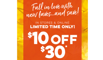 $10 off $30 Bath and Body Works!