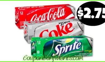 Coca-Cola 12 packs $2.75 each at Publix!