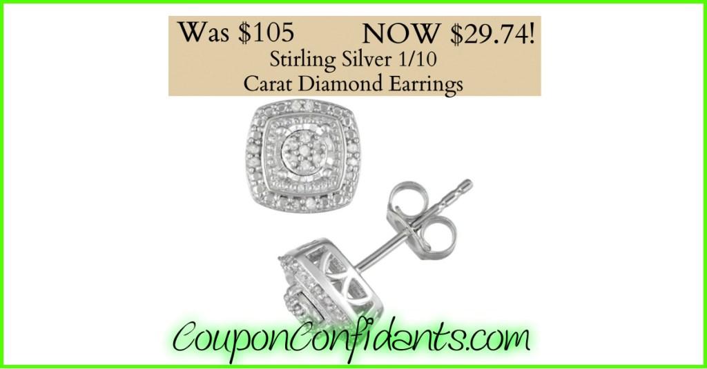 Diamond Earrings only $29.74!!