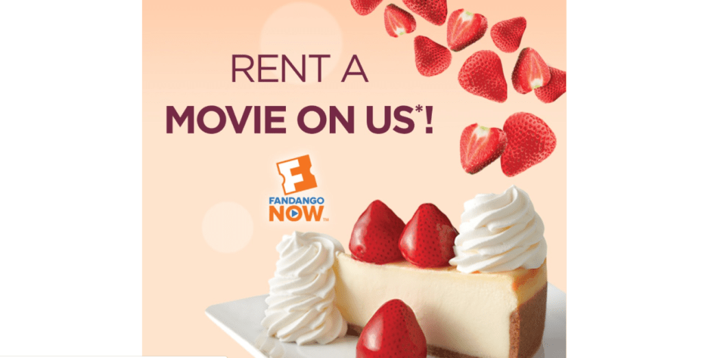 FREE Movie Rental when you order from Cheesecake Factory online!