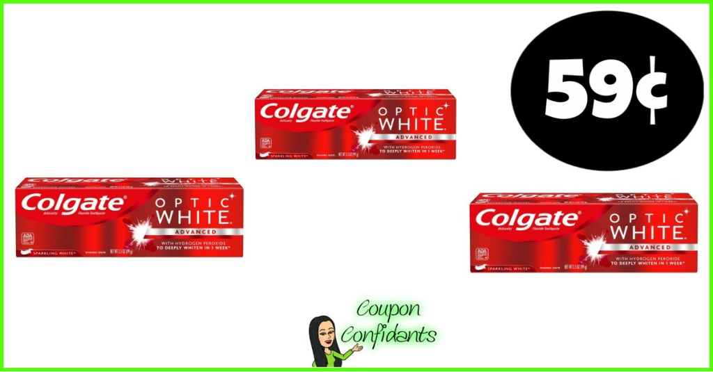59¢ Colgate Optic White Toothpaste at Publix!
