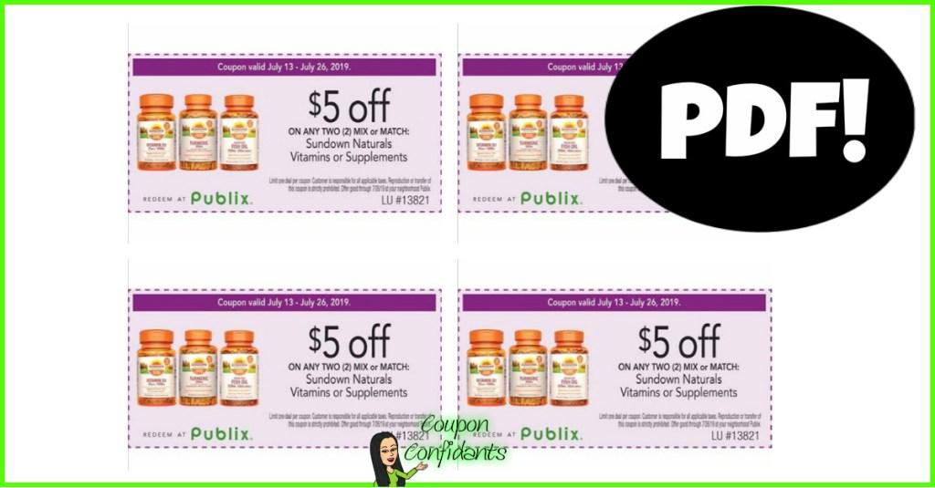 $5/2 Sundown Vitamins Publix Purple Flyer Coupon in PDF Form!