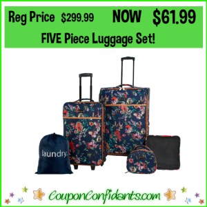 Five Piece Luggage Set Reg Price $299.99 NOW $61.99! WOW! FREE Shipping too!