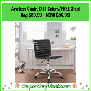 Armless Modern Office Chair Reg Price $89.99 NOW $56.99 and FREE Shipping!