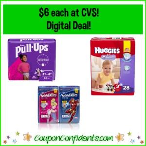 Huggies, Pull ups or Goodnites $6 each at CVS!!
