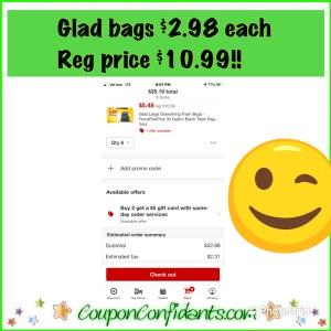 RUNNN!!! Glad bags reg price $10.99 NOW $2.98!!! Target Deal