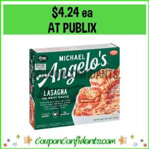 Michael Angelo's Family Size Entrees $4.24 at Publix!