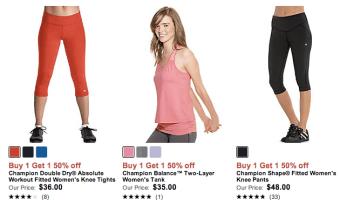 Champion: Buy One Women's Item, Get One Women's Item 50% Off