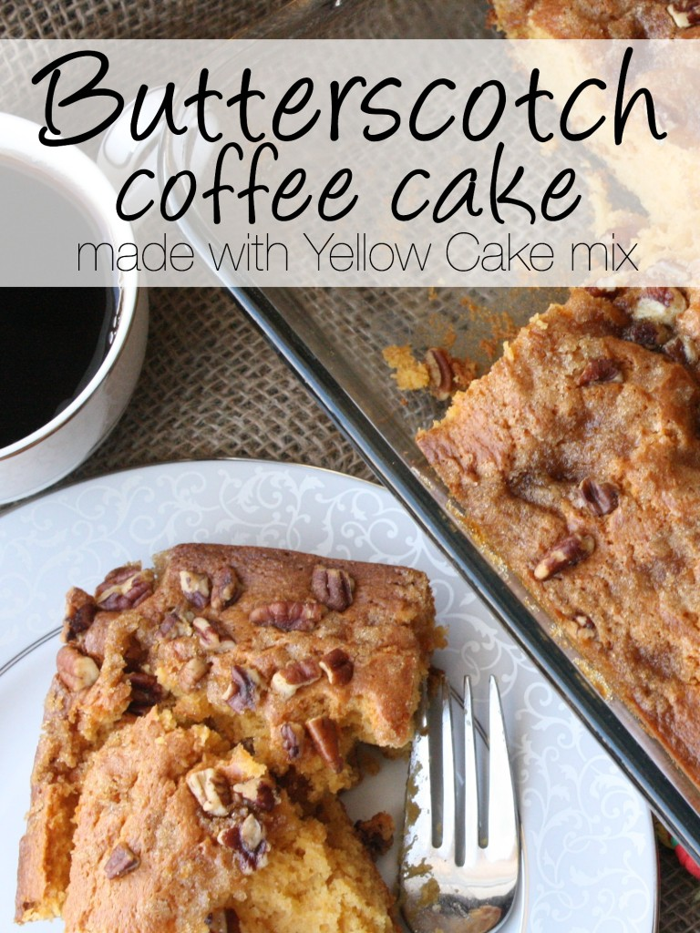 Use a coffee cake cake mix, brown sugar and a few more ingredients to make this coffee cake. It's SO quick and so simple and fantastic!!! https://couponcravings.com/butterscotch-coffee-cake/