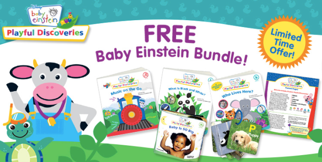 """Your free bundle will include 3 sturdy board books: """"Who Lives Here?"""", """"Music on the Go"""" and """"What is Black and White?"""" along with a squishy plush book, """"Baby is SO Big"""", discovery cards with ring, and an informative parent guide. https://couponcravings.com/free-baby-items-baby-einstein-book-set"""