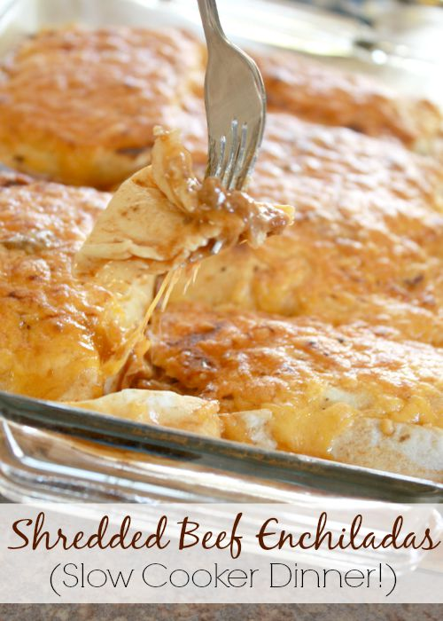 These beef enchiladas are filled with a flavorful beef, bean and cheese mixture, covered in a delicious sauce and smothered in gooey cheese! This is a great method for cooking incredibly tender, super flavorful shredded beef. Perfect for tacos, burrito bowls, nachos, and enchiladas alike. This is an easy kid-friendly mexican dinner idea. https://couponcravings.com/shredded-beef-enchiladas-crock-pot-dinner/