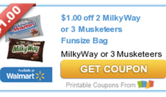 New Candy Coupon Available: $1/2 Milky Way or 3 Musketeers Fun Size Bags