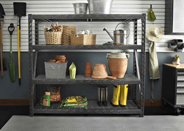 another great deal is this gladiator 77 in w x 24 in d x 73 in h 4shelf welded steel garage shelving unit with lb capacity for reg
