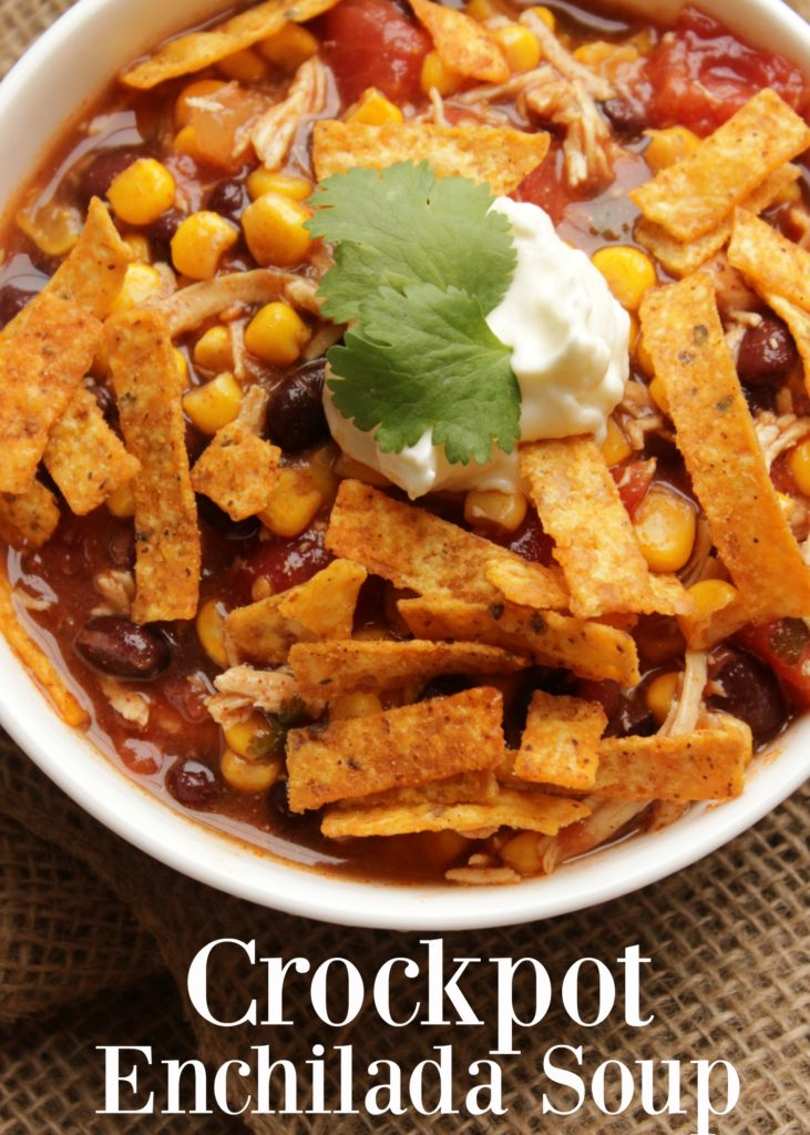 This chicken enchilada soup - crockpot recipe, nonetheless is delicious! It's made in the crockpot entirely, making it a quick easy dinner as well! And, the leftovers are even better.