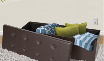 Large Folding Storage Ottoman Bench $35.06