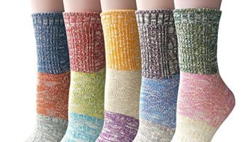 Best Prices On Pack of 5 Pairs Womens Multicolor Knitted Crew Socks