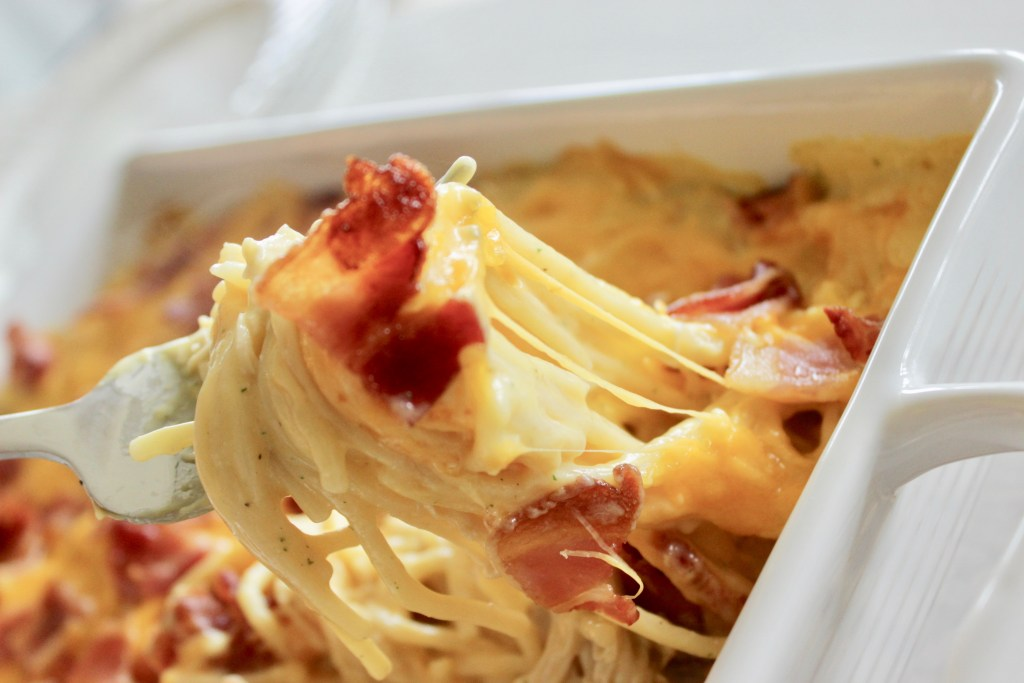 chicken bacon ranch casserole in a casserole dish