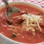 tomato basil soup in a white bowl