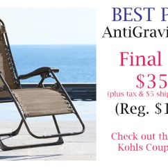 Kohls Anti Gravity Chair Blue Bay Rum Cream Stackable Coupon Codes