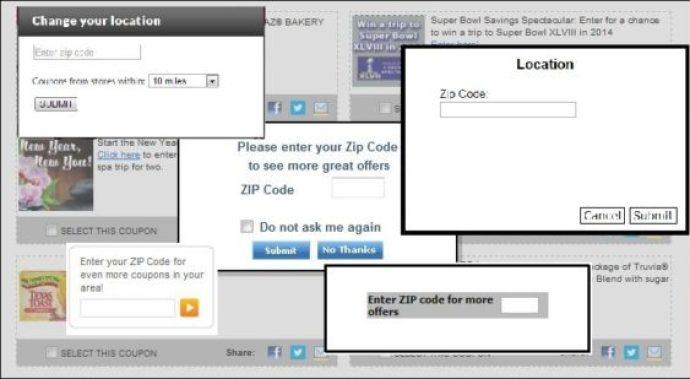 Coupons zip codes