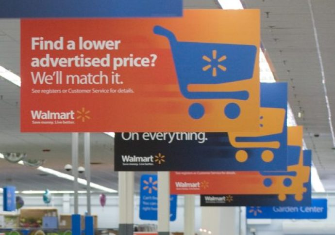 Walmart ad match sign