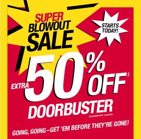 50 off all clearance items super blowout sale