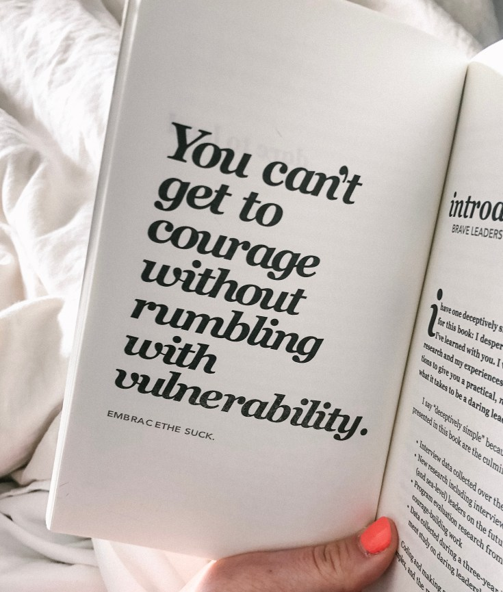 Picture of a Brene Brown book about rumbling with vulnerability