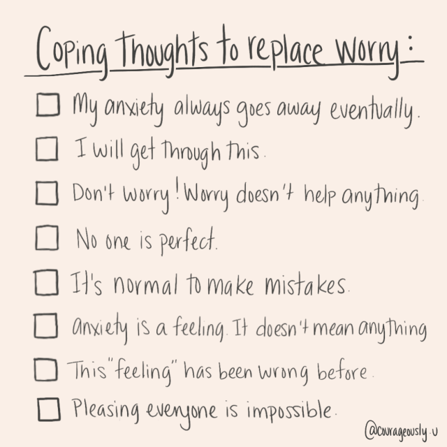 a picture of different coping thoughts that help replace worry