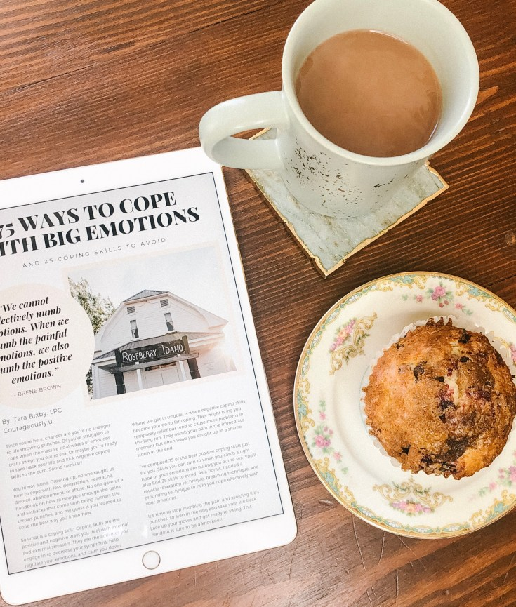 Picture of a cup of coffee, muffin, and i-pad that says 75 ways to cope with big emotions