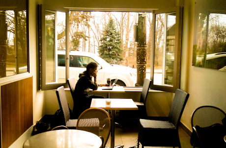 Coffee Shop Laptop Work