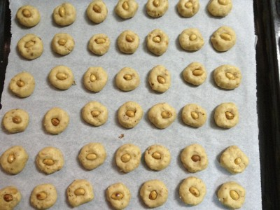 Peanut cookies lining up for the oven