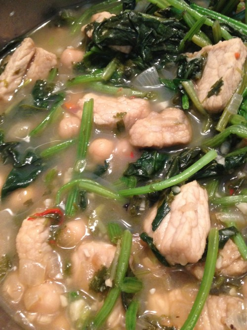 Portuguese Pork with spinach