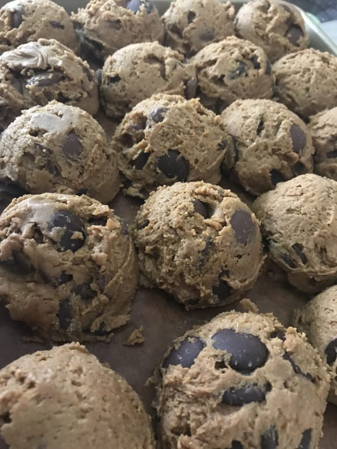 cookie dough scooped out into uniform balls