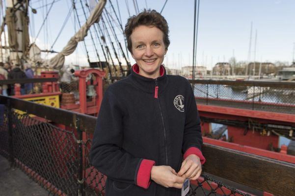 Charlène Gicquel - Second Capitaine de L'Hermione, à Yorktown. © Olivier Blanchet.
