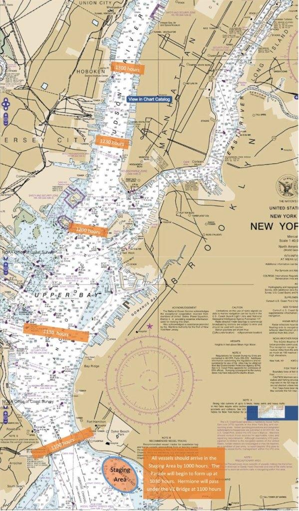 Carte de la parade de l'Hermione La fayette le 4 juillet à New-York pour Independance Day