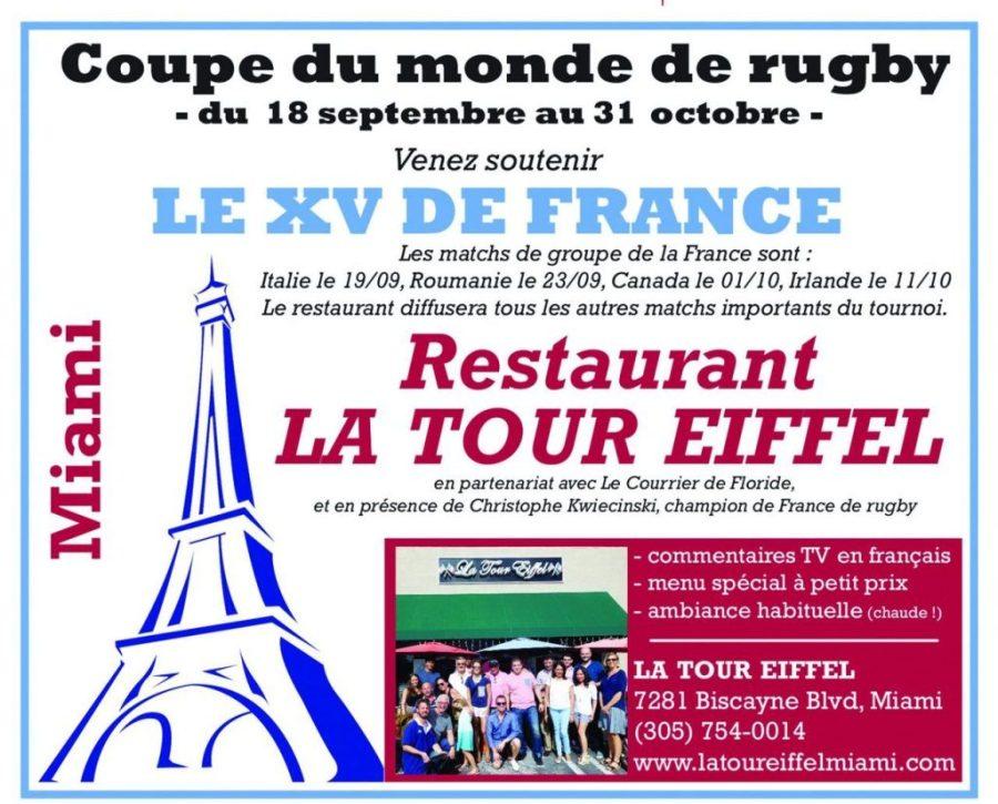 Coupe du monde de rugby restaurant la tour eiffel miami
