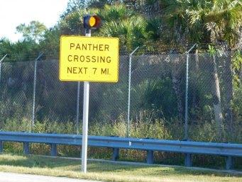 Panneau devant le refuge des panthères de Floride