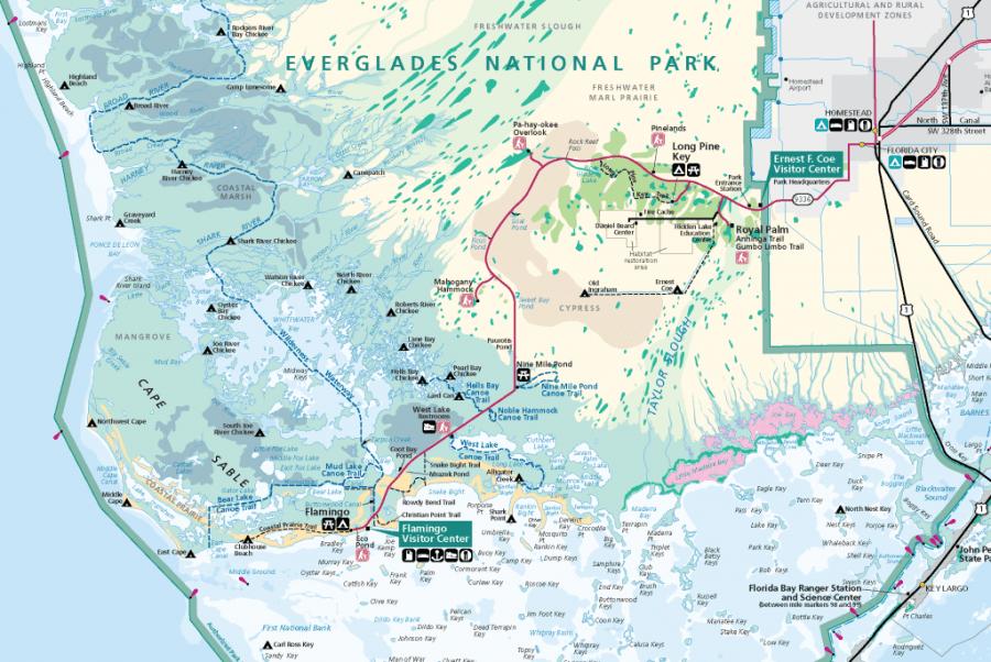 Carte du sud des Everglades