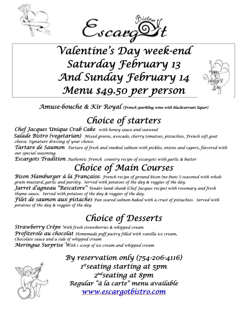 menu escargot 2016 valentines