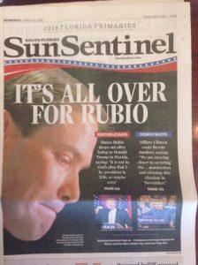 La défaite de Marco Rubio à la Une du Sun Sentinel
