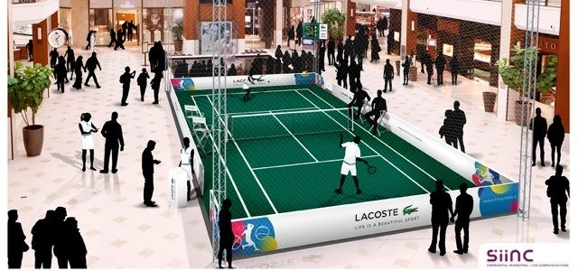 "Court de tennis ""pop up"" de Lacoste au Aventura Mall (Miami - Floride)"