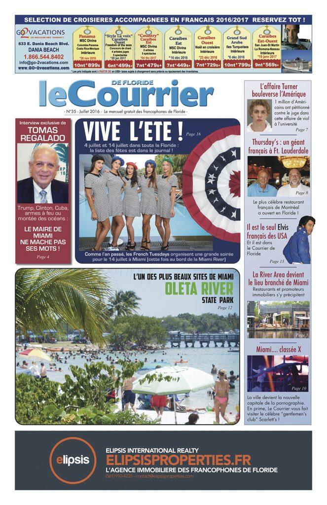 Couverture juillet 2016 Courrier de Floride