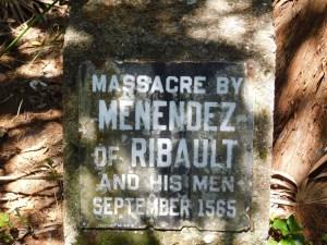 Plaque commémorant le massacre des Français par les Espagnols à Fort Matanzas / St Augustine / Floride