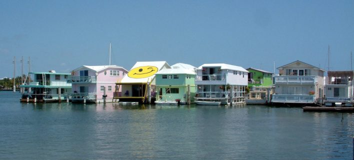 Houseboats sur le Palm Avenue Causeway de Key West