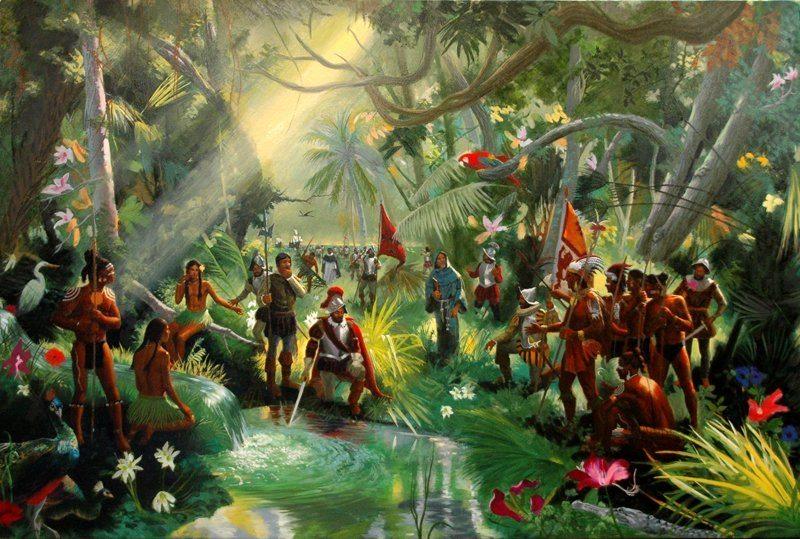 Juan Ponce de Leon a la recherche de la Fontaine de Jouvence en Floride