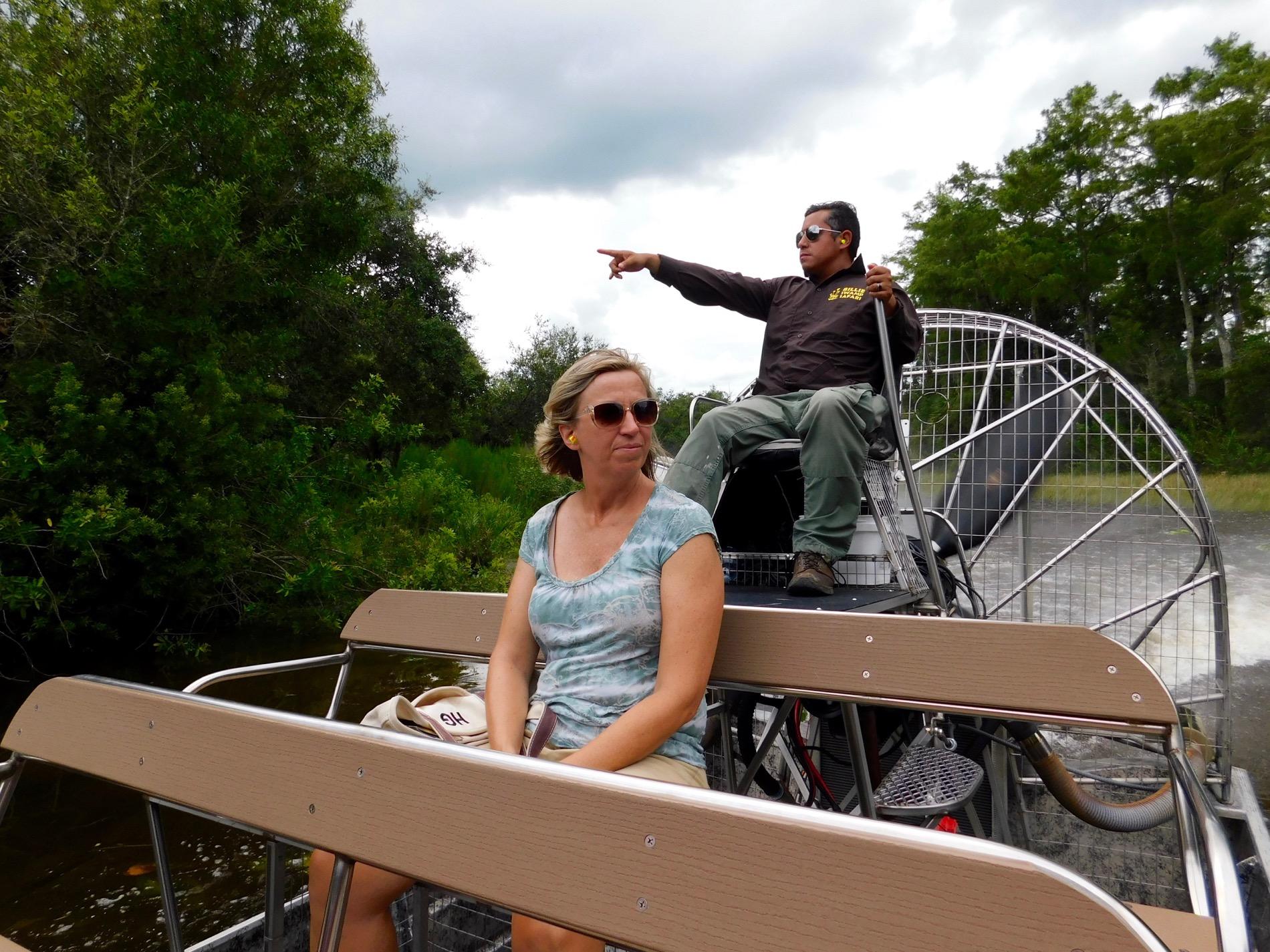 Airboats au Billie Swamp Safari, dans les Everglades de Floride (réserve Miccosukee de la forêt Big Cypress)