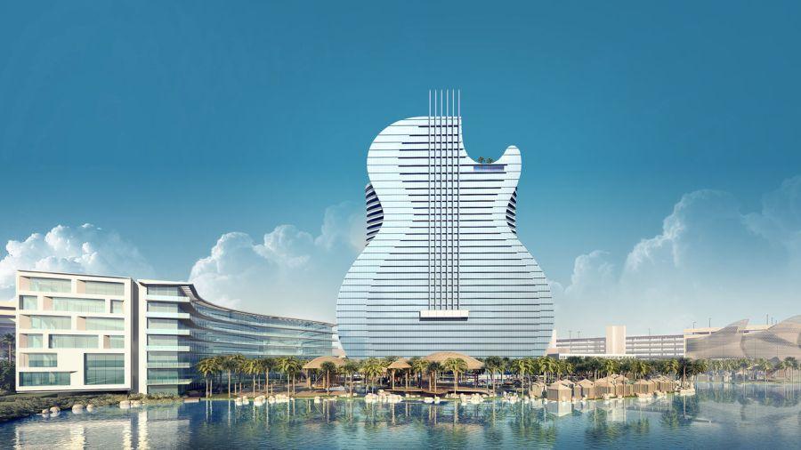 Le projet d'hôtel en forme de guitare géante sur les site du casino Hard Rock de la réserve Seminole à Hollywood en Floride