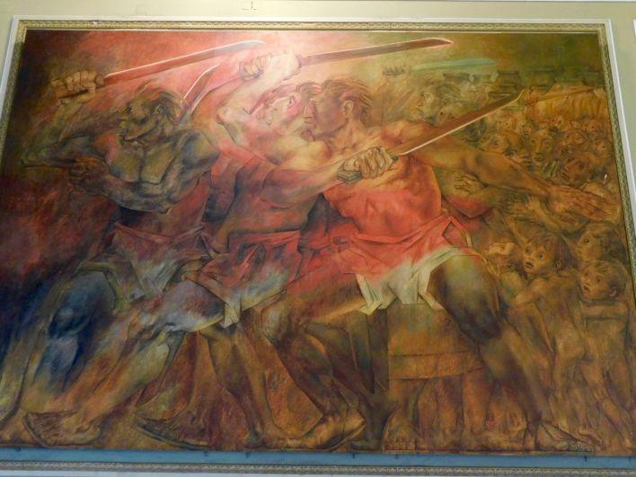 La Guerre des Castes, représentées dans le Palais du Gouvernement de Mérida.La Guerre des Castes, représentées dans le Palais du Gouvernement de Mérida.