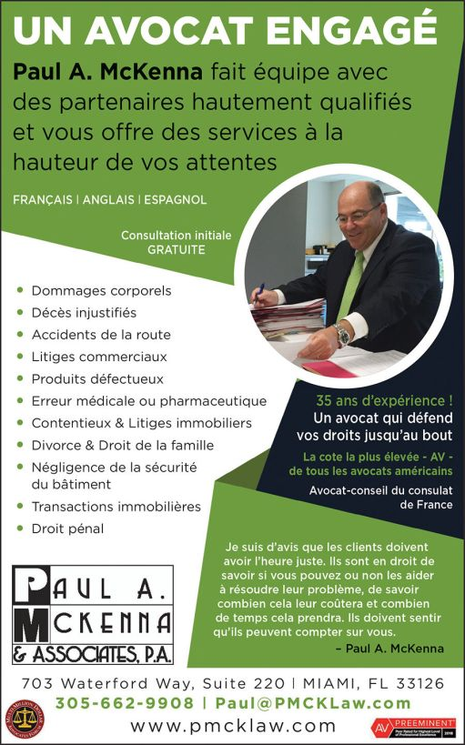 Paul A. McKenna Avocat accidents, famille, à Miami et en Floride